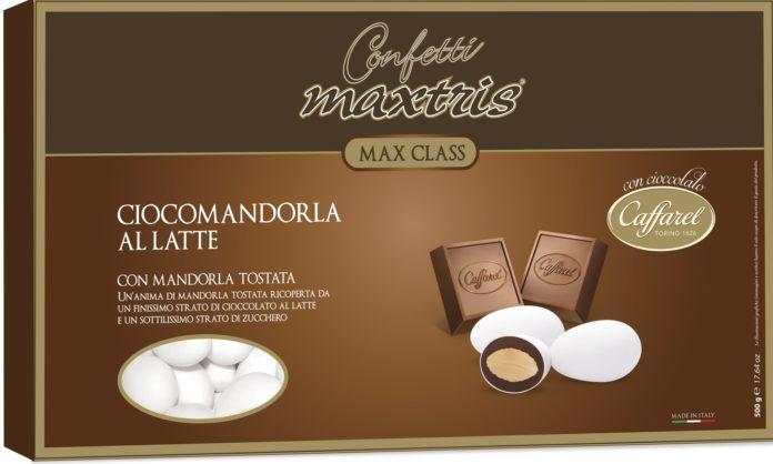 La scatola della nuova linea di Confetti Maxtris con cioccolato Caffarel