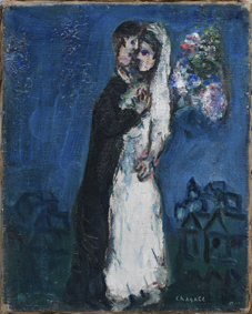 Chagall Fidanzati su sfondo blu